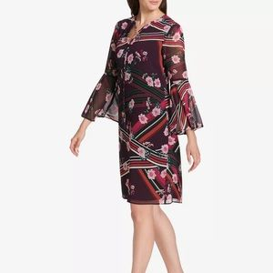 Vince Camuto Dress Floral Tassel-tie Bell Shift  4